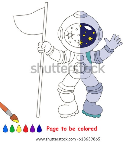 Astronaut With Flag The Coloring Book To Educate Preschool Kids Easy Gaming Level