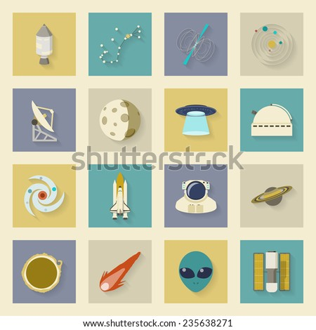 Astronautics and Space flat icons set with shadows - stock vector