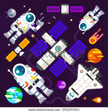 Astronauts and spacecraft in space in the midst of the planets in weightlessness. Vector flat illustration - stock vector