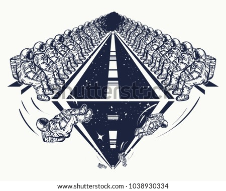 Astronauts in deep space tatto and t-shirt design. Universe research symbol, disembarkation to other planets