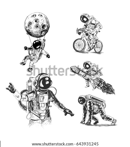 Astronauts space mission poster set, Hand Drawn Sketch Vector illustration.