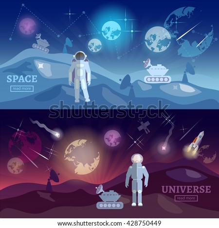 Astronauts space program banner research and space astronaut study universe astronaut in a spacesuit search for extraterrestrial life vector illustration - stock vector