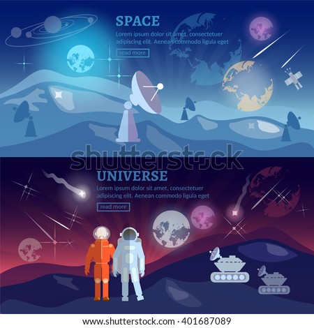 Astronauts space program banner research and space exploration vector illustration - stock vector