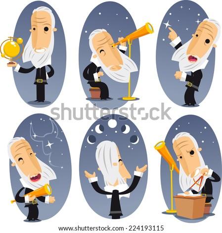 Astronomer astronomy Telescope Globe Observing Sky Stars Constellations. Vector illustration cartoon.  - stock vector