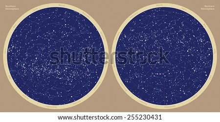 Astronomical constellation map; constellations are signed with Latin names; Northern and Southern Hemispheres. - stock vector