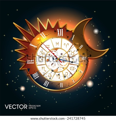 astronomical zodiac clock design - stock vector