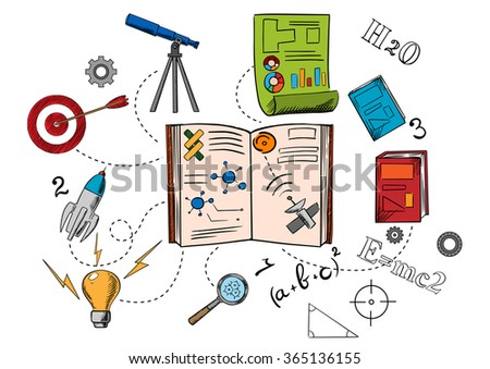 Astronomy and science colorful icons with spaceship, light bulb, magnifying glass, target, telescope, chart and books. Sketch style - stock vector