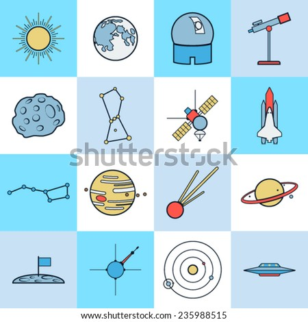 Astronomy and space icons vector set - stock vector
