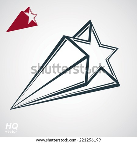 Astronomy conceptual illustration, pentagonal comet star - celestial object with decorative comet tail. Eps8 superstar icon. Armed forces design element isolated on white background. - stock vector