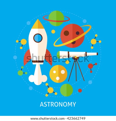 Astronomy Science Concept. Flat Poster Design Vector Illustration. Collection of Education and Learning Colorful Objects.