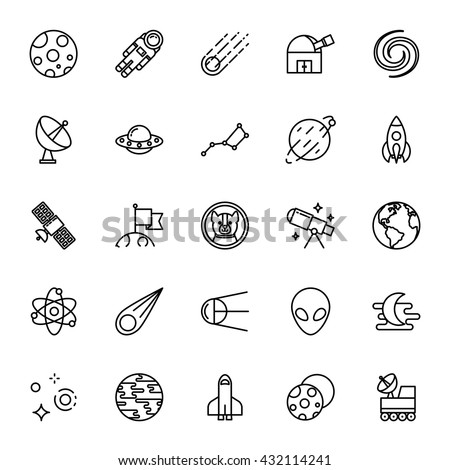 Astronomy, science. Set of vector icons. Outline style - stock vector
