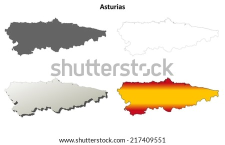 Asturias blank detailed outline map set - vector version - stock vector