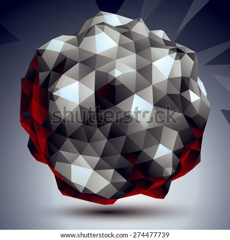 Asymmetric 3D abstract object, monochrome geometric spatial form. Render and modeling. - stock vector