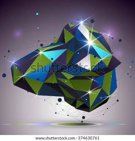 Asymmetric 3d technology glossy shape with connected lines and dots. Lattice bright engineering element, best for use in web design. Dimensional mesh object. - stock vector