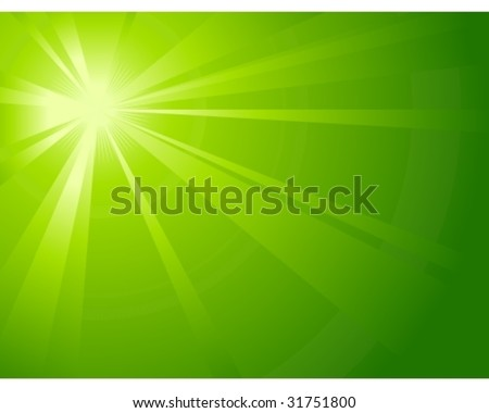 Asymmetric green light burst with the centre in the upper left third, great for spring, nature, or eco themes. - stock vector