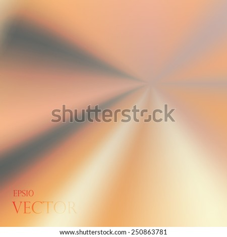 Asymmetric yellow orange light burst with the center in the upper right third.  - stock vector