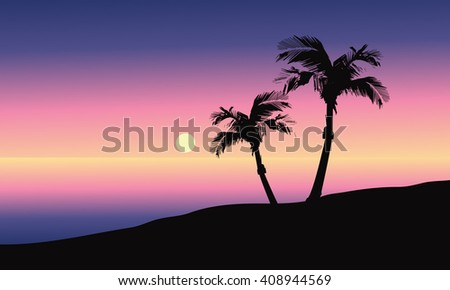 At morning silhouette in beach a beautiful