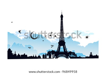 At night the moon on the background of the Eiffel Tower - stock vector