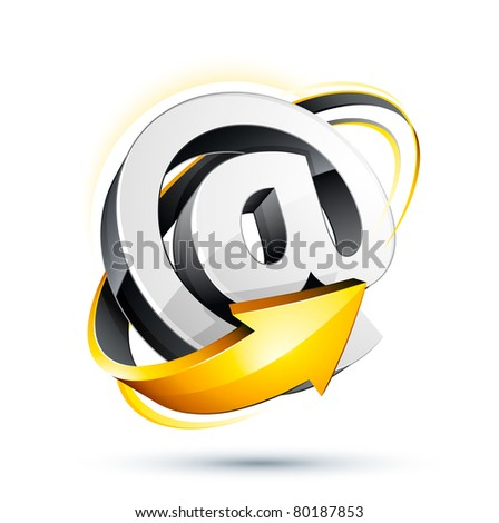 at sign and arrow - stock vector