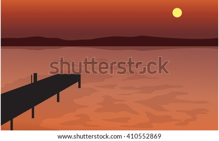 At Sunset pier silhouette scenery with hills backgrounds