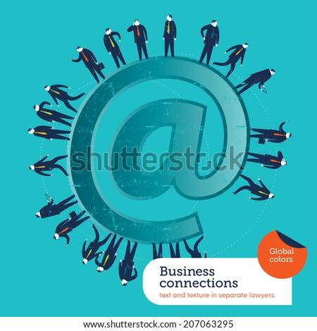 At symbol business people. Vector illustration Eps10 file. Global colors. Text and Texture in separate layers.  - stock vector