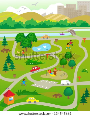 At The Park - Vector illustration of aerial view of a park with people doing activities. Eps10