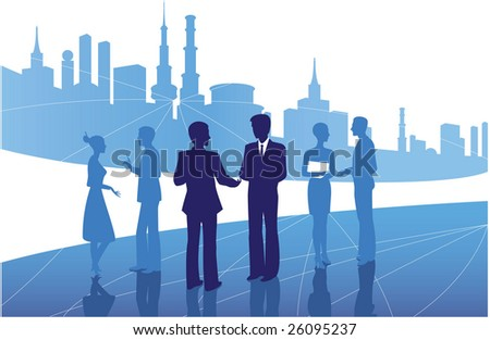 At the vector image depicts the silhouettes of people - stock vector