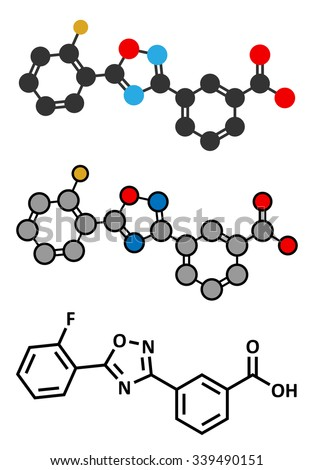Ataluren genetic disorder drug. Used in treatment of cystic fibrosis and Duchenne muscular dystrophy. Thought to work by making ribosomes skip stop codons.  - stock vector