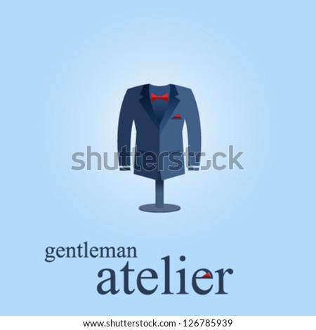 Atelier and thread vector icon with dark blue man's suite