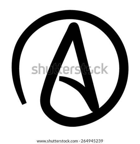 Atheism Black and White Printable Symbol - stock vector