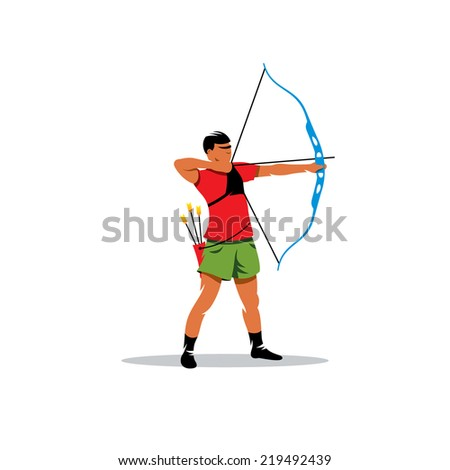 Athlete archery Branding Identity Corporate vector logo design template Isolated on a white background - stock vector