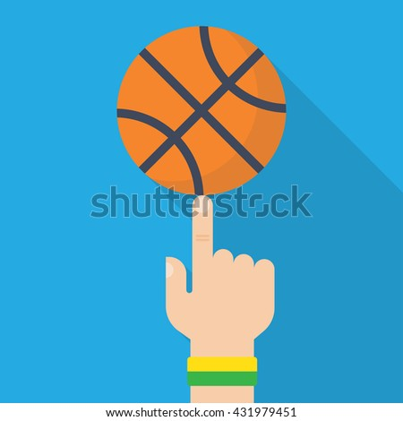Athlete basketball player spinning the ball on his finger. Vector illustration, flat design style. Sports concept. Basketball ball in hand - stock vector