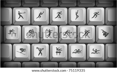 Athlete Icons on Gray Computer Keyboard Buttons Original Illustration - stock vector