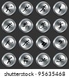 Athlete Icons on Metallic Button Collection Original Illustration - stock vector