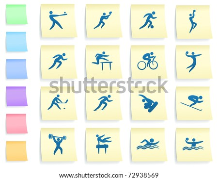 Athlete Icons on Post It Note Paper Collection Original Illustration - stock vector