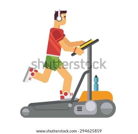 Athlete running on a treadmill concept flat vetor illustration - stock vector