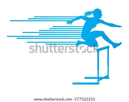 Athlete woman hurdling in track and field vector background concept made of stripes - stock vector