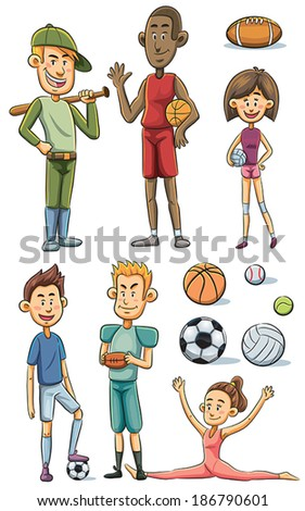 Athletes Collection - stock vector
