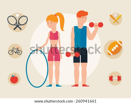Athletes, female and male character. Sport concept elements for infographics - stock vector