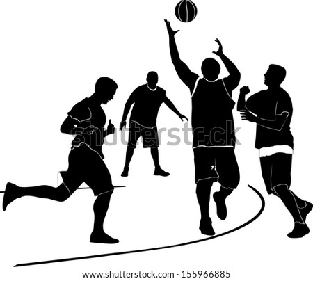 Athletes men are playing basketball - stock vector