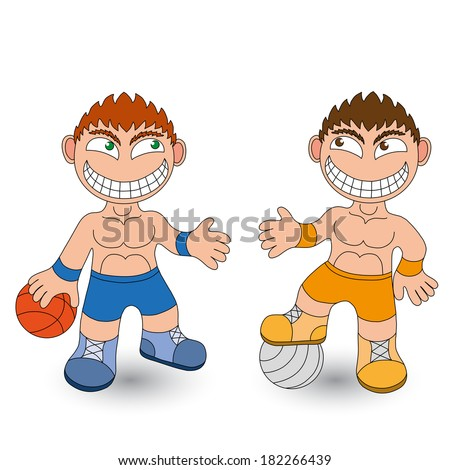 Athletes on white background