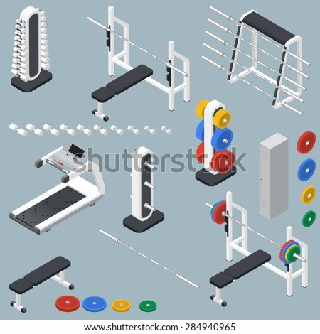 Athletic accessories for fitness center isometric icons set vector graphic illustration - stock vector