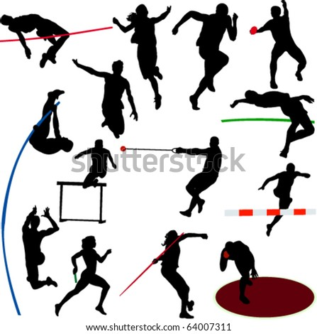 athletic collection - vector - stock vector