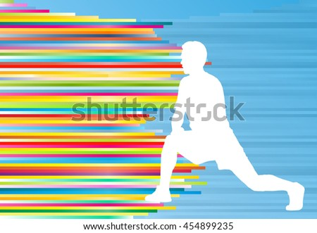 Athletic exercise man stretching warm up vector background concept