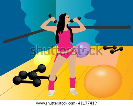athletic girl working exercises in the gym - stock vector