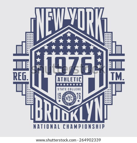 Athletic New York typography, t-shirt graphics, vectors , vintage - stock vector