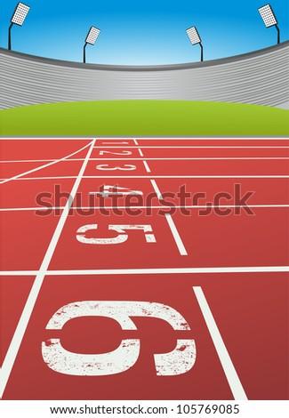 Athletic start - stock vector