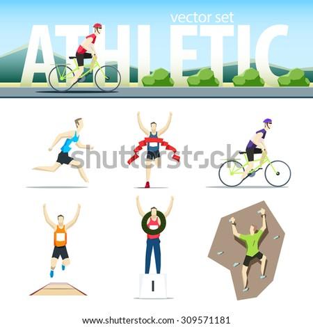 Athletic vector set with different sportsmen: cyclist, rock climber, runner, marathoner, long jumper, winner - stock vector