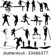 athletice silhouettes - vector - stock vector
