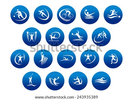 Athletics and team sport icons or symbols for sporting and fitness logo design - stock vector